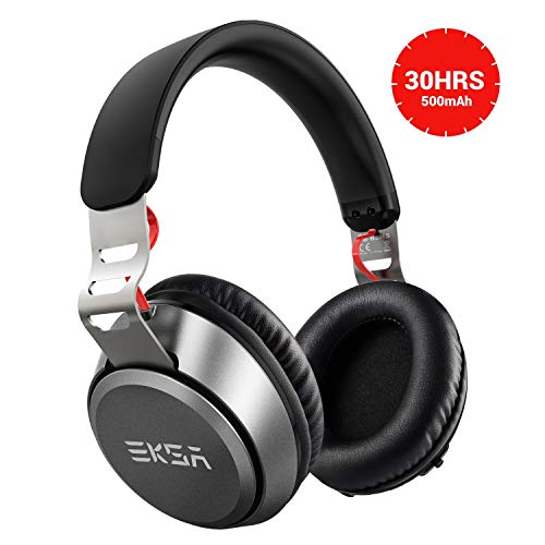Bluetooth Headphones, EKSA Wireless Bluetooth Headphones Over Ear with Microphone, Up to 30hrs, Adjustable Headband, Soft-Protein Earmuffs, Wired Foldable Headset for iPhone/iPad/PC/Cell Phones