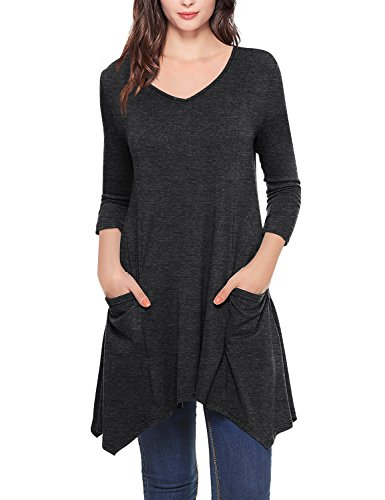 Timeson Tunic Dress, Women's V-Neck Asymmetrical Hem Tunics Elong Ladies Loose Top with Pockets Carbon Black Large