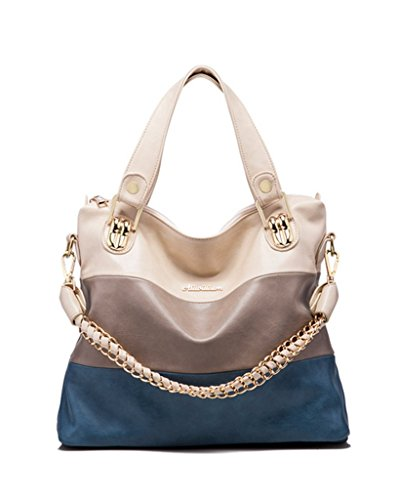 Katoony Womens Girls PU Leather Stripes Chain Shoulder Handbag Hobo Top Handle Tote Bag Satchel
