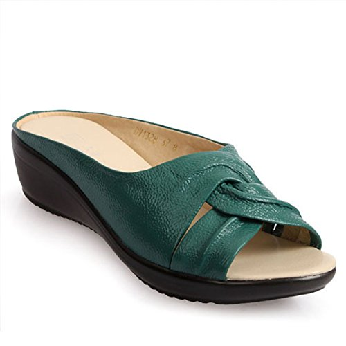 Acereima Women Wedges Sandals Shoes Leisure Slippers Slippers Slippers Slip-On Round Toe Genuine Leather Sandals B07FCRP4VM Shoes 2bad8c