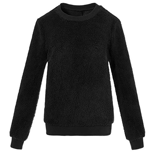 URIBAKE Women Plush Sweater Imitation Lambskin Round Neck Long Sleeve ()
