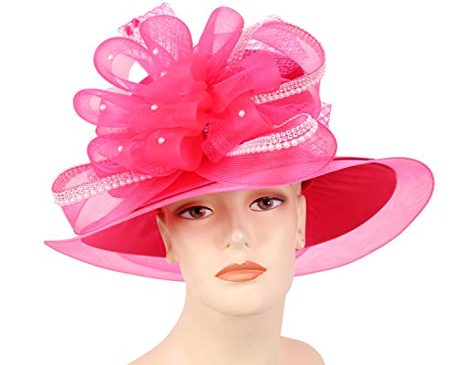 620e8b3dcd9b8 Ms. Divine Collection Women s Satin Church Derby Hats- H908 Pink ...