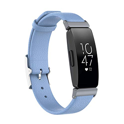 EEweca Leather Bands for Fitbit Inspire or Inspire HR Wristband Replacement Double-Sided Genuine Leather Strap, Baby Blue