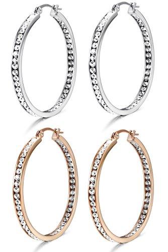 Jstyle 2Pcs Stainless Steel Hoop Earring for Women Girls CZ Earrings Set,40MM