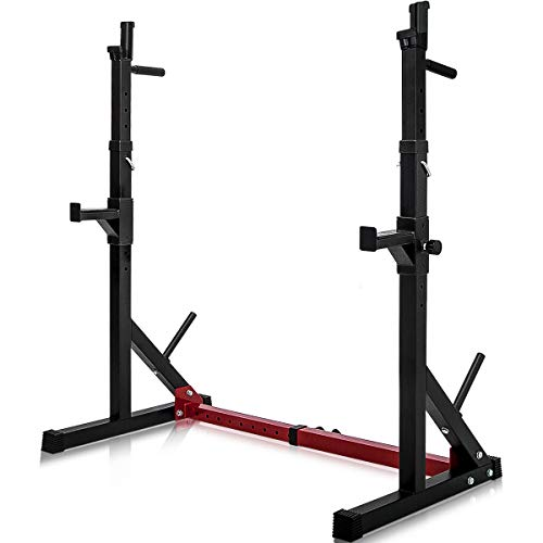 Merax Barbell Rack 550LBS Max Load Adjustable Squat Stand Dipping Station Gym Weight Bench Press Stand (Black & Red)