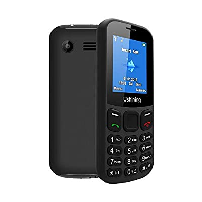 Ushining 2G Senior Unlocked Feature Phone T-Mobile GSM Cell Phone Dual Card Dual Standby Unlocked Cell Phone Easy to Use Basic Phone for The Elderly (Black)