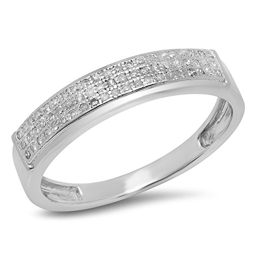 0.25 Carat (ctw) Sterling Silver Round Diamond Men's Micro Pave Hip Hop Wedding Band 1/4 CT (Size 12) by DazzlingRock Collection