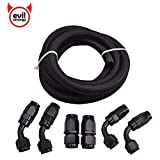 EVIL ENERGY 6AN 5/16 Inch Nylon Stainless Steel Braided CPE Fuel Line and Swivel Hose End Fittings Kit 10FT
