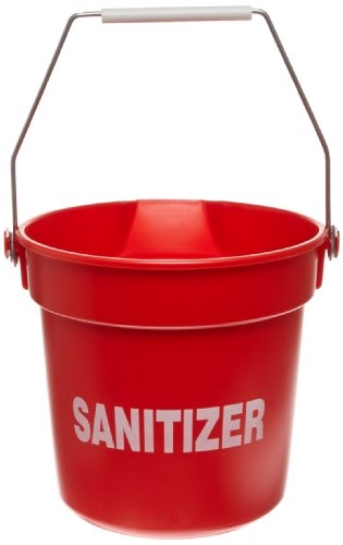 Impact 5510RS High Density Polypropylene Deluxe Heavy-Duty Bucket with Sanitizer Imprint, 10 qt Capacity, 10-1/4'' Length x 10-5/8'' Height, Red (Case of 12) by Impact Products