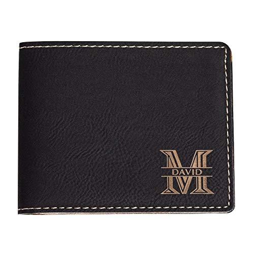 (Emenar Custom Personalized Black Wallet Vegan Leather Bifold Slim Wallet for Men, Perfect Gift, Black)