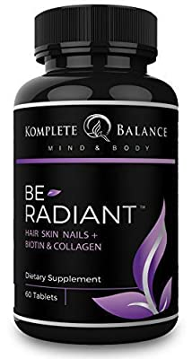 BeRadiant - All Natural Supplement for Hair Growth, Healthy Skin & Strong Nails – Stop Hair Loss & Restore Beauty, DHT Blocker, 5000mcg Biotin, Antioxidants, Collagen & Powerful Herbs - All Hair Types