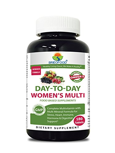 (Brieofood Womens Multivitamin 180 Tablets, Food Based daily Multivitamin for women made with Vegetable Source Omegas, probiotics and herbal blends)
