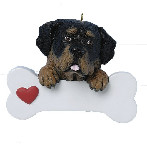 Personalized Rottweiler Christmas Ornament for Tree 2018 - Black Brown Dog Paws on Big Bone with Heart - Playful Pet Mastiff Family Breed Protect Rottie German Faith Fluffy Good - Free Customization