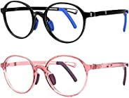 STORYCOAST Kids Blue Light Blocking Glasses Girls Boys 2 Pack Anti Eyestrain & UV Glare TR90 Computer Gami