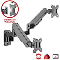 SIIG Aluminum Gas Spring Monitor Wall Mount with Dual Extended Arm - Heavy Duty Holds 17 to 32 Screens, Up to 17.6 lbs Each, VESA 75x75 or 100x100