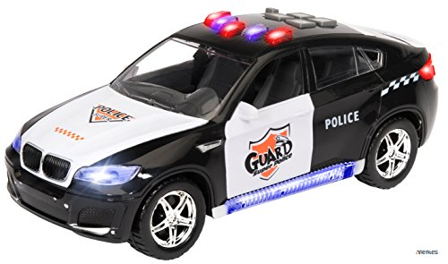 Memtes Electric Police Car Toy for Kids with Flashing Lights and Sirens Sounds, Bump and Go Action (2 Front Doors Open) (Light And Sound Car compare prices)