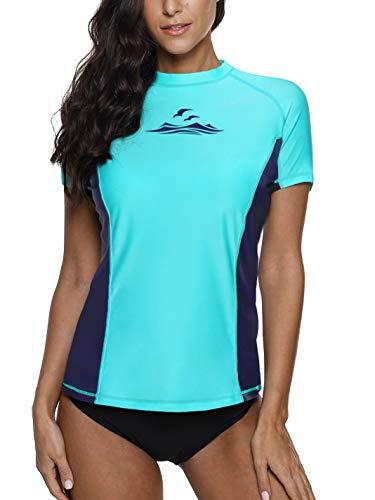 Rash Guard Women Splice Swim Tops Short Sleeve Surfing Shirt Rashguard Blue XL