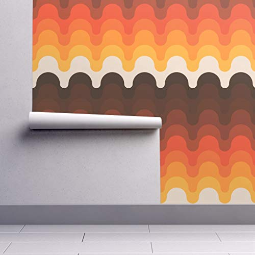 Peel-and-Stick Removable Wallpaper - Desert Retro 70S Seventies Bold Pattern 1970S Sunset by Circa78designs - 12in x 24in Woven Textured Peel-and-Stick Removable Wallpaper Test Swatch (70s Retro Wallpaper)