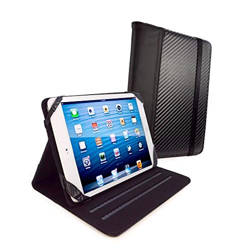 Tuff-luv Slim-Stand Faux Leather Case Cover (with Sleep Function) for Ipad Mini Retina Mini 3 - 'Carbon' Black