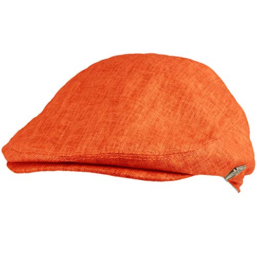 Men's Summer 100% Linen Front Snap Flat Golf Ivy Driving Cap Hat S/M ()