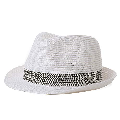 Women Packable Straw Fedora Panama Sun Summer Beach Hat Trilby for Men White