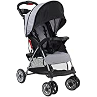 Kolcraft Cloud Plus Lightweight Stroller with 5-Point Safety System and Multi-Positon Reclining Seat, Extended Canopy, Easy One Hand Fold, Large Storage Basket, Parent and Child Tray, Slate