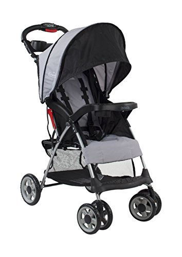 Umbrella Stroller Compact - Kolcraft Cloud Plus Lightweight Stroller with 5-Point Safety System and Multi-Position Reclining Seat, Extended Canopy, Easy One Hand Fold, Large Storage Basket, Parent & Child Tray, Slate Grey