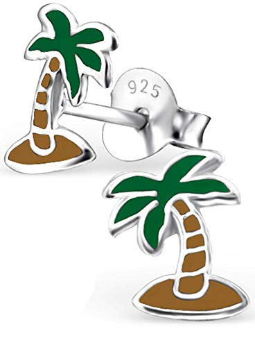 (Hypoallergenic Sterling Silver Tropical Beach Vacation Earrings for Kids - Palm Tree)