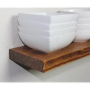 "Solid Rustics - Rustic Deep Floating Shelves, Walnut, Made in USA, (Set of 2) (1 1/2"" H x 24"" W x 7"" D)"