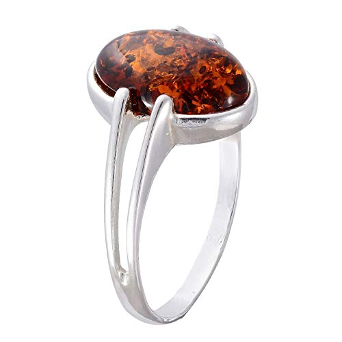 HolidayGiftShops Sterling Silver and Baltic Honey Amber Ring Federica Size: 9