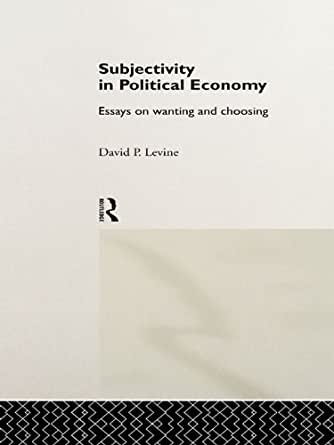 subjectivity during political economy works relating to wanting along with choosing