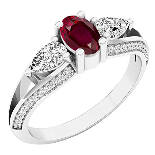 Dazzlingrock Collection 14K 6X4 MM Oval Ruby, Pear White Sapphire & Round Diamond 3 Stone Ring, White Gold, Size 9