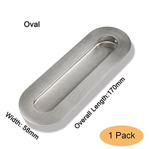 (Gobrico Oval 170mmx58mm Finger Flush Pulls Recessed Sliding Door Handle Satin Nickel, 1Pack)