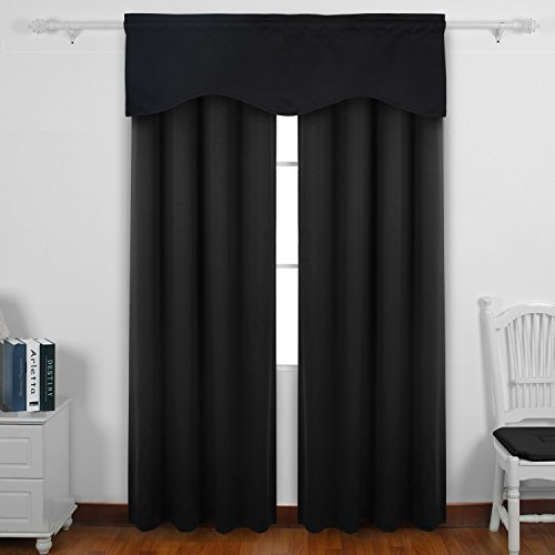 Authentic Deconovo Solid Color Rod Pocket Blackout Curtains Short Curtains Scalloped Valance For