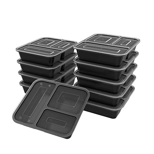 Hipatoo Meal Prep Containers [10 Pack] 3 Compartment Food Containers with Lids,Disposable Lunch Box,BPA Free Meal Prep Bowls Box, Stackable,Leak Proof,Freezer,Dishwasher and Microwave Safe