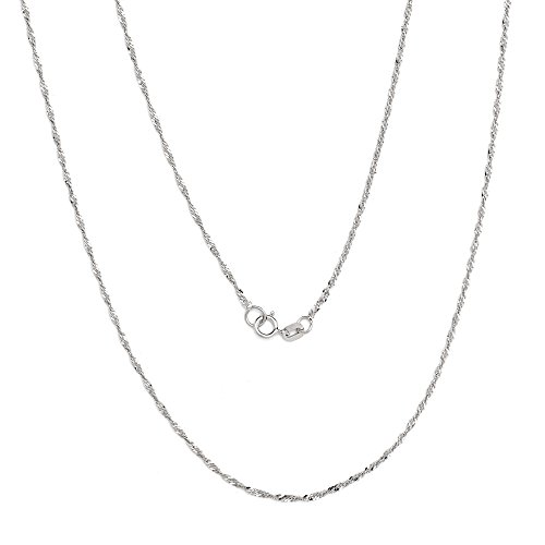 20 Inch 10k White Gold Thin Singapore Chain Necklace, 0.05 Inch (1.3mm)