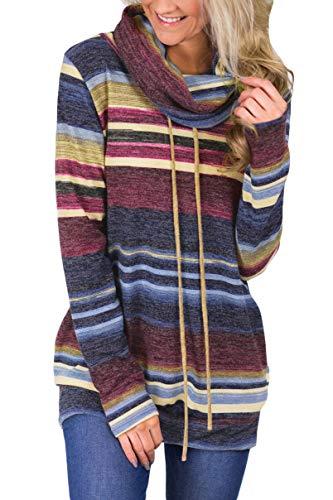 Women's Cowl Neck Long Sleeve Pullover Drawstring Color Block Striped Sweatshirt Tops Pocket Dark Blue XL
