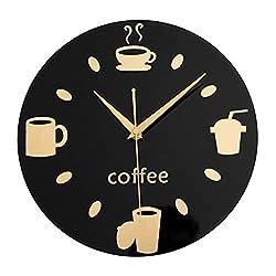 VORCOOL 3D Mirror Round Coffee Cup Wall Clock Restaurant Kitchen Mute Decorative Wall Sticker Clock Art Wall Clock Diameter 20CM (Black Bottom Gold)