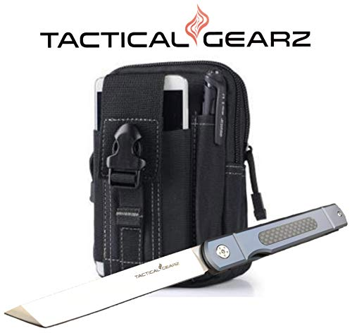 TG Tatsu, Tc4 Titanium/Carbon Fiber Japanese Style EDC Folding Knife w/Sheath! Polished D2 Steel Tanto Blade! Ball Bearing Pivot System! (Blue Pearl Bundle)