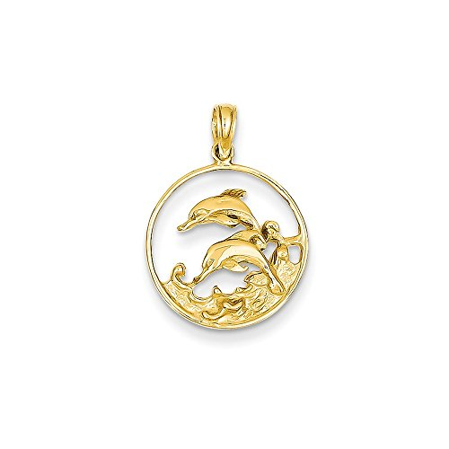 14k Double Dolphin Circle Pendant, 14 kt Yellow Gold 14k Gold Double Dolphins Pendant