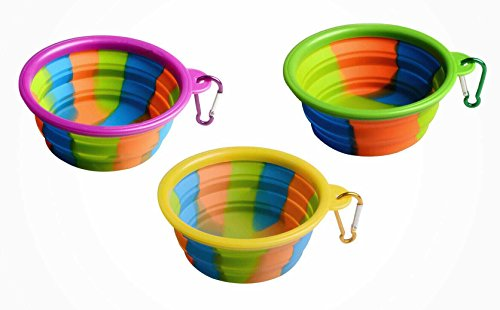 Collapsible Portable Dog Travel Bowl - Colorful Water Food Pet Dish For Cats or Dogs | Dish Washer Safe | Carabiner Included | BPA free | Perfect for Keeping your Pet Hydrated and Fed on the Go!
