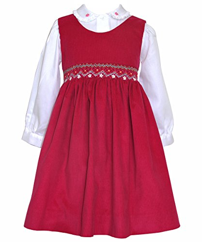 Carouselwear Girls Pink Smocked Jumper Dress and Embroidered Blouse ()