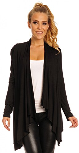 Glamour Empire Damen Wasserfall-Jacke Shirtjacke mit lange Ärmel. 320 (Schwarz, EU 42, XL)