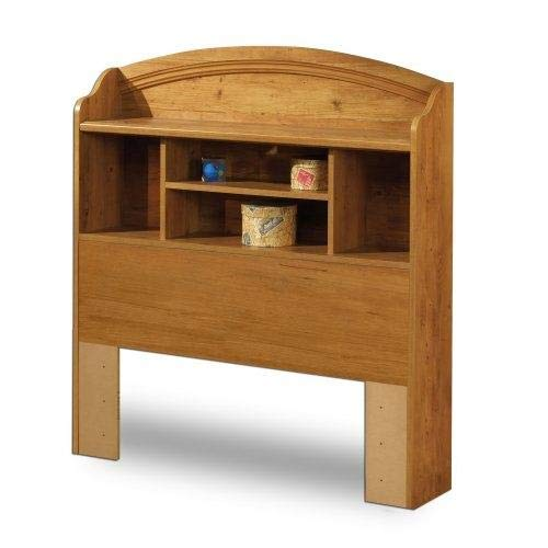 StarSun Depot Twin Size Arched Bookcase Headboard in Country Pine Finish