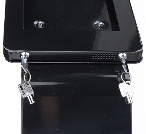 iPad Floor Kiosk, with Power Outlet and Sign Holder, Dual Locking Enclosure, for iPad 2-4 and Air (Black Aluminum) by Displays2go (Image #4)'