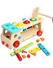 Euyecety hamerspel speelgoed houten werkbank, gereedschapskist hout voor 3 4 5 jaar jongens meisjes, doe-het-zelf speelgoed rollenspel set Montessori speelgoed, creatief rollenspel set Motorische vaardigheden