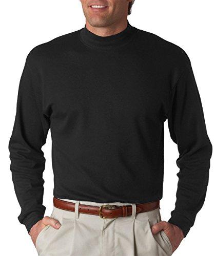 UltraClub Adult Egyptian Interlock Long-Sleeve Mock Turtleneck (Cotton Mock Neck Mens T-shirt)