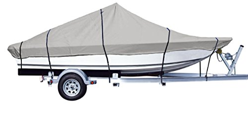 iCOVER Water Proof Heavy Duty Trailerable Boat Cover,Fits V-Hull Center Console Boat 17ft-19ft Long and Beam Width up to 96in, Windshield Height up to 30in,Grey Color, B7302A