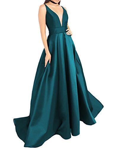 YSMei Women's Plunge V Neck Prom Dress Pockets Long Evening Celebrity Dress Formal Gown Jade - Formal Dresses Jade