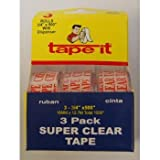 Stationery Tape Super Clear - 3pk -.71''x500''ea Case Pack 72